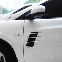 redes de emalhar venda por atacado-Tampa Do carro Lado Fluxo De Ventilação Fender Air Net Porta Decalques Auto Etiqueta DIY Simulação tubarão carro brocas tomada suave + ABS chapeado