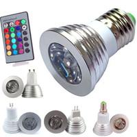 proyectores de 12v dc al por mayor-Bombilla LED RGB 3W Proyectores LED 16 Cambio de color AC85-265V E27 GU10 E14 GU5.3 DC / AC12V MR16 con 24 teclas de control remoto