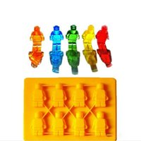 Wholesale Silicon Cakes - Lego Shaped Silicon Ice Cube Tray Mini Robot Figure Silicone Chocolate Cake Mold Tray Blue Yellow Color