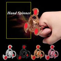 rolamento de tempo venda por atacado-Aço inoxidável Tri Fidget Anel Spinner Handspinner EDC Jóias Mudo Rolamento Espiral Dedo Brinquedos para Matar Tempo 4 Estilos