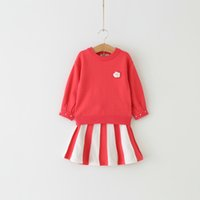 Wholesale Girls Pearl Flower Top - Everweekend Baby Kids Girls Sets Pullover Flowers Pearl Sweater Tops Blouse and Stripe Tutu Skirt Children Outfits