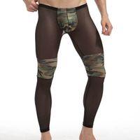 Wholesale Sheer See Through Panties - Sheer Nylon Men Sleep Underpants Camouflage Patchwork Sexy See Through Transparent Gay Male sleep bottom Panties Black