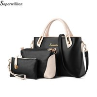 Wholesale China Brand Shoulder Bags - Wholesale-Soperwillton China Brand 2016 Composite Bag Women Bags Set Soft PU Patchwork Panelled Fashion Shoulder Bag Ladies #664