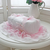 Wholesale Princess Car Seat Covers - Wholesale- Fashion princess bedroom textile tissue box cover luxury yarn pearl car tissue box towel paper cover for wedding decoration