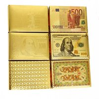 Wholesale High Quality Plastic Playing Cards - Poker Card Gold foil plated Playing Cards Plastic Waterproof High Quality US dollar Euro Style General style poke