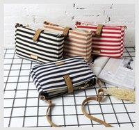 Wholesale Stripe Canvas Tote Beach Bags - 2017 Fashion Stripes Printing Handbag Ladies Shoulder Bags Tote Casual Shopping Bags Women Beach Canvas handbags Bag 4 colors