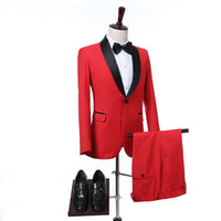 Wholesale Mens Wedding Suits Red Tie - Two Piece Red Wedding Tuxedos for Groom Wear 2017 Black Shawl Lapel One Button Slim Fit Groomsmen Mens Suits (Jacket + Pants + Tie)