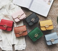 Wholesale Wholesale Vintage Style Handbags - Girls Bags Fashion new children CG chain Bag kids PU letter one shoulder bags women mini bags Vintage lady style children handbags A00065