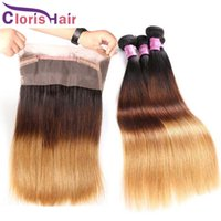 Wholesale Silk Lace Frontal Virgin - Ombre 360 Lace Frontal With 3 Bundles Silk Straight Brazilian Virgin Human Hair Weaves Full Frontals Closures Piece Honey Blonde T1b 4 27