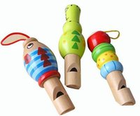 Wholesale Wooden Whistles Wholesale - Free Shipping Wholesale Orff Colorful Fun Baby Kids Wooden Cartoon Whistle Musical Education Toys Portable Instrument