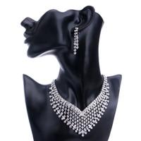 Wholesale Fshion Earring - Hot!New Fshion Bridesmaid Europe Jewelry Sets Rhinestone Necklace Earriry sets For Bridesmaid Exquisite Necklace and Earings Jewely