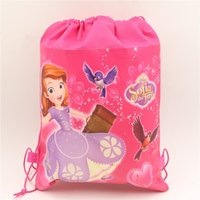 Wholesale Princess Sofia Fabric - Wholesale- 1pc\lot Birthday Party Sofia Princess Drawstring Gift Bags Kids Favors Decoration Baby Shower Supplies Non-Woven Fabric Backpack