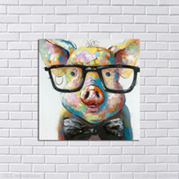 Oil Painting paintings in oil on canvas - Framed Abstract Lovely Pig Hand Painted Modern Cartoon Animals Art Oil Painting Home Wall Decor On High Quality Canvas in Multi sizes