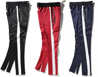 Men black urban clothing - 2017 New side zipper pants hip hop Fear Of God Fashion urban clothing red bottoms justin bieber FOG jogger pants Black red blue