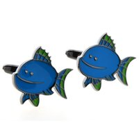 Wholesale Men Cufflinks Fish - Funny Blue Fat Fish Cufflink Chain Cufflink New York Cufflink for Man Children's Day Gift China Wholesale Factory AG3043