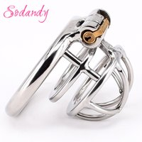 Wholesale Steel Chastity Cuff - SODANDY Super Small Chastity Cage Male Stainless Steel Penis Lock Device Mens Cock Cage Penis Cuffs Metal Chastity Belt Locking