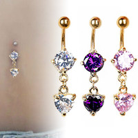 Wholesale Love Dangle Belly Button Rings - Love Heart belly button rings Bar Gold Color Surgical Piercing Sexy Body Jewelry for Women CZ Crystal Dangle Navel Piercing Ring