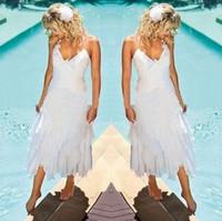Wholesale Halter Style Wedding Dressed - Under 100 Cheap Short Bohemian Beach Wedding Dresses 2017 Halter Neck Tea Length Summer Boho Style White Chiffon Bridal Gowns