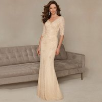 Wholesale Dresses Style Mermaid Bride - 2017 New Champagne Mother of the Bride Dresses Long Elegant Beaed Sequined Pleats V-Neck Mermaid Style Half Sleeve Lace Formal Gowns