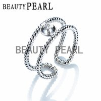 Wholesale Ring Double Silver - 5 Pieces Ring Mount Jewelry Findings Twisted Ring Double Band 925 Sterling Silver for DIY Pearls