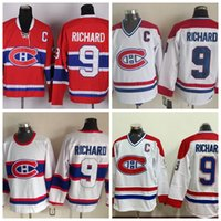 Throwback Maurice Richard Chandails de hockey Canadiens de Montréal 1946 CCM Vintage White 9 Maurice Richard Jersey cousu Cheap C Patch