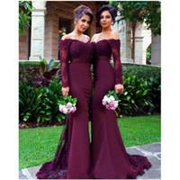 Vestidos largos color vino con encaje