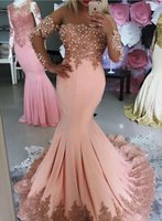 Wholesale Shop Evening Dresses Online - Sale Fall Blush Pink Mermaid Prom Dresses With Long Sleeves Bateau Neck Lace Appliques Pearls Formal Evening Dresses Online Shopping