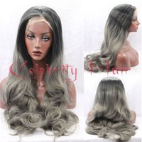 Wholesale Sexy Gray Wigs - Sexy Dark Grey Synthetic Lace Front Wig Glueless Body Wavy Black to Gray Heat Resistant Hair Wigs Baby Hair Heat Resistant