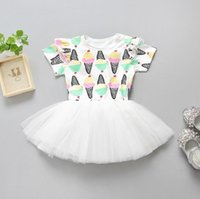 Wholesale Ice Cream Print Dress - Ins Summer Baby Girls Ice Cream Printed Dress Short Sleeve Lace Tulle Tutu Dress Kids Children Princess Casual Dresses 13168