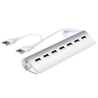 tarjeta de datos de china al por mayor-Mini 7 puertos USB 2.0 HUB Universal de aleación de aluminio portátil Hubs Doble 2.0 USB Cable Adaptador de enchufe para PC portátil de escritorio de fábrica