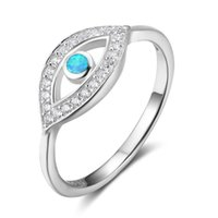 Wholesale sterling silver blue opal - 5pcs A Lot 925 Sterling Silver Blue Opal Eye Design Rings Fashion Jewelry Promise Rings For Women