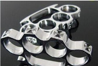 Wholesale Gear Equipment - 2pcs death squads boxing outdoor self defense Protection equipment metal Gold and silver knuckle duster knuckle Protective Gear