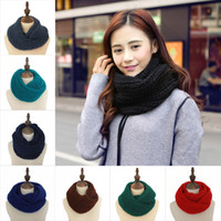 Wholesale Warm Knit Neck Circle - New Fashion Women's Girl's Ring Scarf Scarves Wrap Shawls Warm Knitted Neck Circle Cowl Snood For Autumn Winter Free Shipping