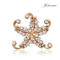 Wholesale gold starfish pins for sale - Group buy 100PCS latest brooch design new style fashion metal gold plated rhinestone starfish star brooch