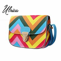 Cross Body squared lucky - Ulrica New Design Rainbow Chain Of Small Square Package women bag messenger bags Flap bolsos spanish Lucky Colors