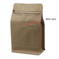 zip lock bolsa de papel marrom venda por atacado-20 pçs / lote papel Kraft Stand Up Zip Lock pacote de fole bolsa de bolso para café saco de armazenamento de grãos de café saco de Brown com ventilação
