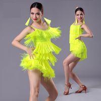 Wholesale Girls Latin Dance Dresses - 2017 new Girls Kids adult Modern Ballroom Latin Dance Dress tassel Fringe Salsa Tango Dance Wear Black Performance Stage Wear