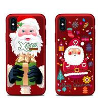 porzellan handy großhandel-Für Apple iphoneX iphone X iphone 7 plus TPU Kasten China roter Weihnachtsbaum malte Entlastungen Weihnachtsgeschenk All-inclusive-anti-drop-Handy