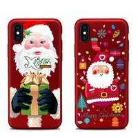 Wholesale painting christmas tree - For apple iphoneX iphone X iphone 7 plus TPU box China red Christmas tree painted reliefs Christmas gift All-inclusive anti-drop cell phone