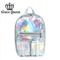 Wholesale Phone Hologram - Wholesale- 2016 Women Hologram Laser Leather Backpack Holographic Transparent Backpacks Sac a Dos School Bag For Teenagers Travel Rucksack