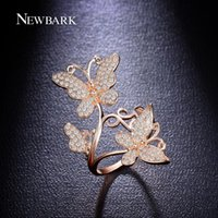 NEWBARK Elegância Lovely Butterfly Finger Ring Paved CZ Stone Party Double Butterflies Acessórios Jóias Mulher Melhores Presentes q170720