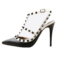 Wholesale handcrafted dress - Zandina Women Handcrafted Fashion 100mm Metal Studs Pumps Pointy High Heels Ankle Strap Shoes For Party Prom Office