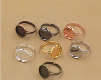 Wholesale Silver Bezel Trays - Mixed lot Fit 10MM 12MM 14MM 16MM 18MM 20MM round finger ring settings, adjustable blank ring base, metal bronze gold silver ring tray bezel