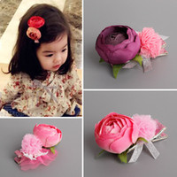 Wholesale Girls Guaze - Wholesale 20pcs lot 2C Solid Cute Floral With Guaze Ball Girls Hairclips Fashion Flower with Bow Baby Girls Hairpins Hair Accessories