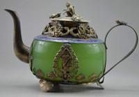 Wholesale Happy New Year Gift Boxes - Décoré de collection Old Travail Manuel Jade & Tibet Argent Dragon Tea Pot de Singe Couvercle