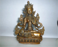 Wholesale tara statue resale online - Tibetan Buddhism Bronze Kwan yin White Tara Buddha Statue