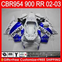 Wholesale Honda Cbr954rr - Body For HONDA CBR 954RR CBR900RR CBR954RR 2002 2003 66NO46 Repsol blue CBR 900RR CBR954 RR CBR900 RR CBR 954 RR 02 03 Fairing kit 8Gifts
