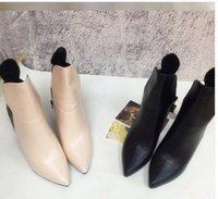 Wholesale Rough Leather Shoes - 2017 autumn and winter new shoes pointed and ankle boots black high heels ladies boots rough with boots
