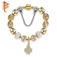 Wholesale Leaf Beads Free Shipping - BELAWANG European Crystal Four Leaf Clover Heart Charm Bracelet for Women Gold Chain Star Beads Bracelets&Bangles DIY Jewelry Free Shipping