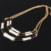 Wholesale Necklace Collar Fashion Design - Hot Popular Individual Design Black Enamel Elegant Gold Color Chain Alloy Collar Necklace For Women Fashion Bijoux #N078
